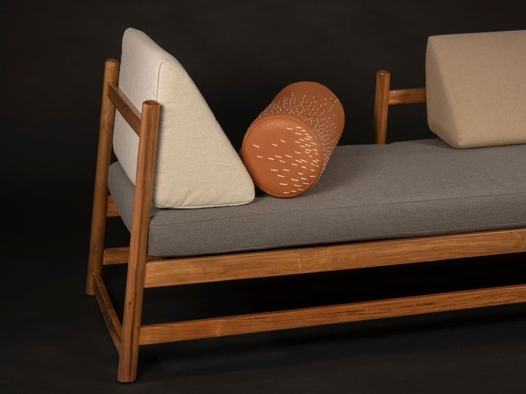 Mexican Pita Outdoors Daybed, Teak Wood and Sunbrella Fabrics For Sale