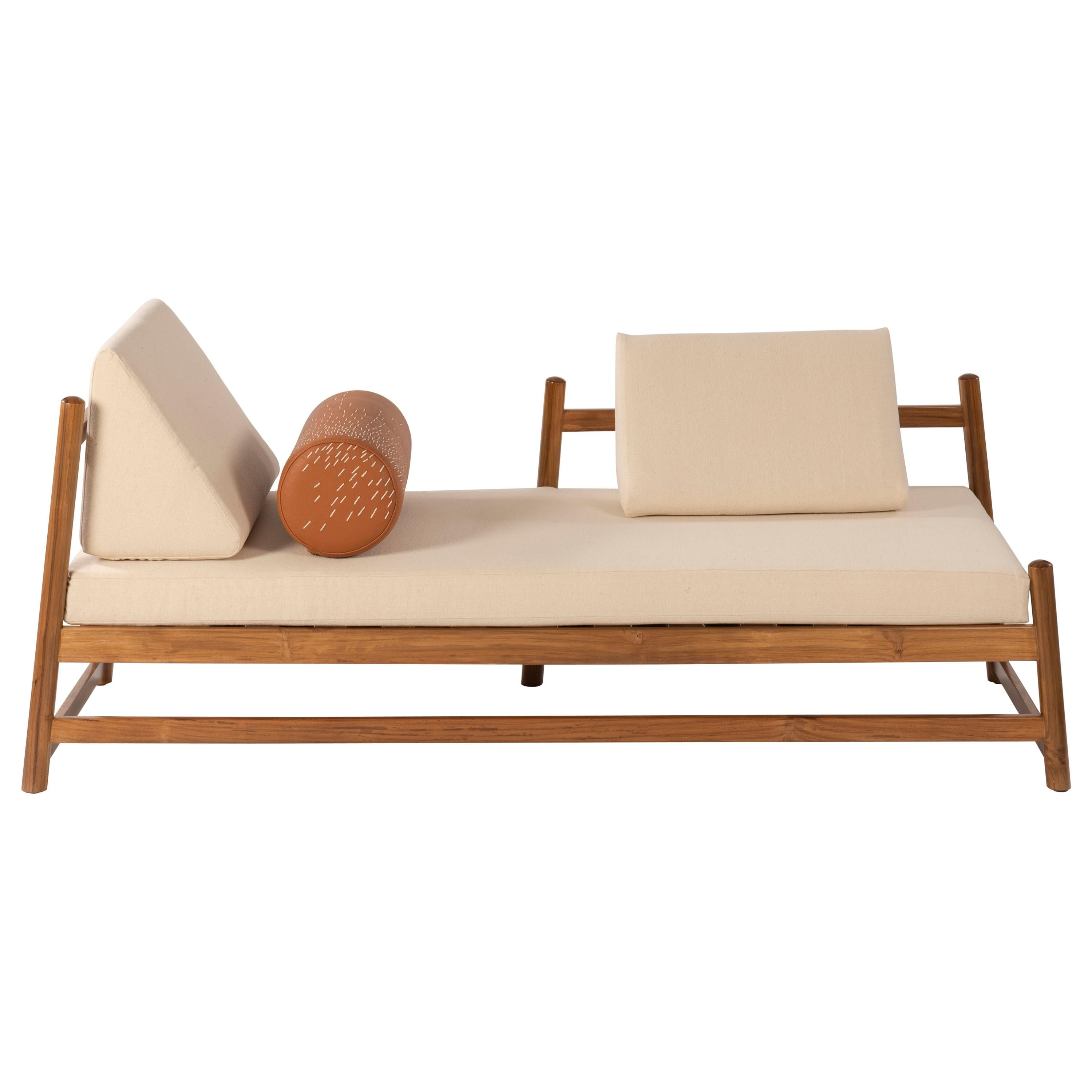 Pita Outdoors Daybed, Teak Wood, Off-White Denim and Leather