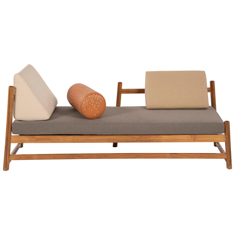 Pita Outdoors Daybed, Teak Wood, Sunbrella Fabrics and Leather