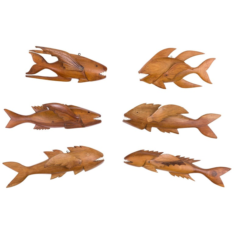 """Pitcairn Island """"Mutiny on the Bounty"""" Hand Carved Wall-Mounted Flying Fish For Sale"""