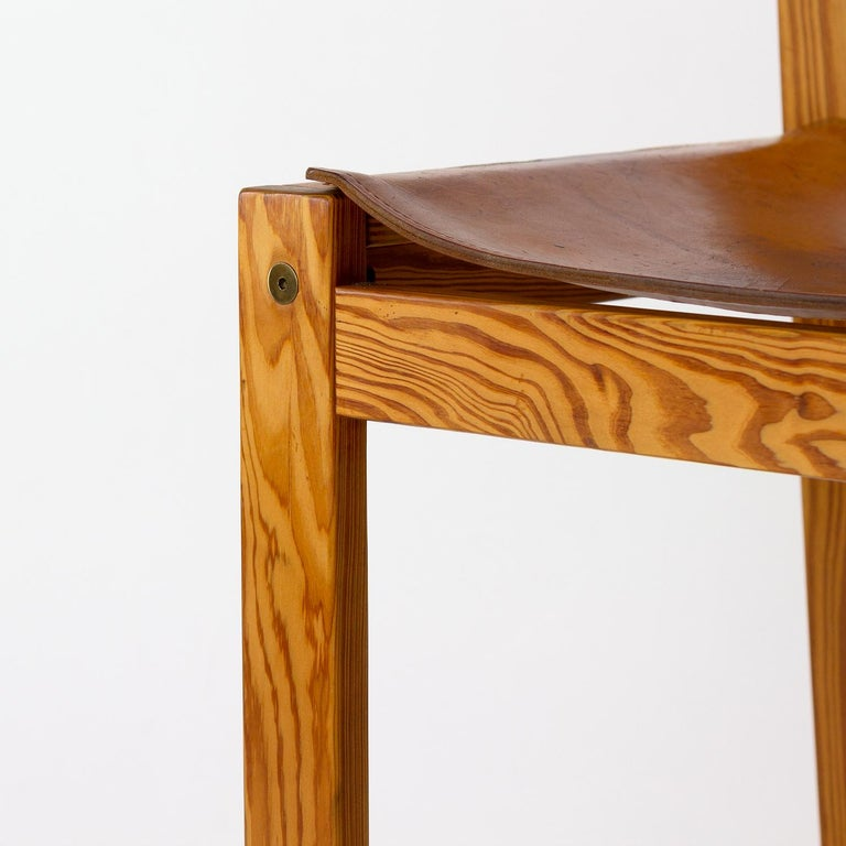Pitch Pine and Cognac Leather Side Chair, Denmark, 1970s For Sale 4