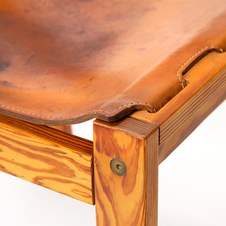 Pitch Pine and Cognac Leather Side Chair, Denmark, 1970s For Sale 5