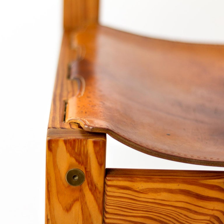 Pitch Pine and Cognac Leather Side Chair, Denmark, 1970s For Sale 6