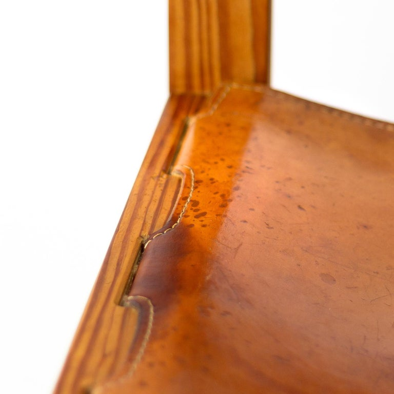 Pitch Pine and Cognac Leather Side Chair, Denmark, 1970s For Sale 9