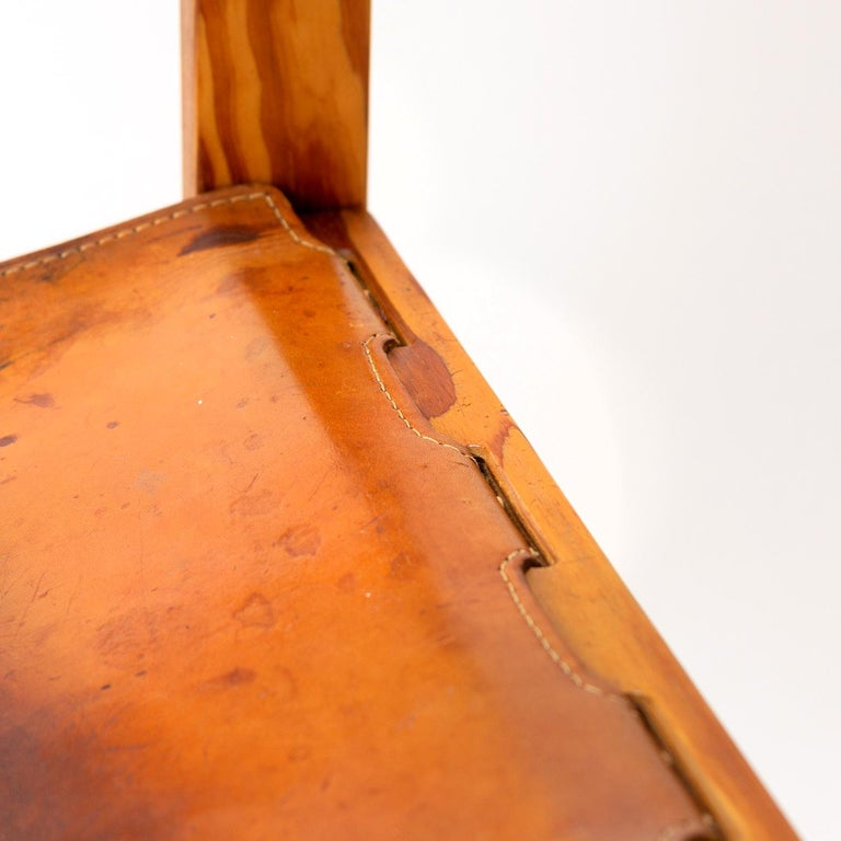 Pitch Pine and Cognac Leather Side Chair, Denmark, 1970s For Sale 10