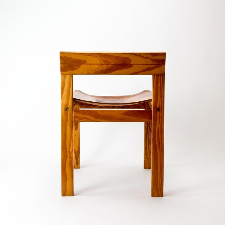 Scandinavian Modern Pitch Pine and Cognac Leather Side Chair, Denmark, 1970s For Sale