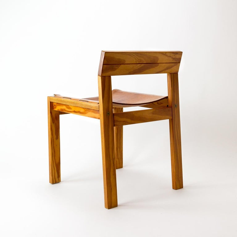 Danish Pitch Pine and Cognac Leather Side Chair, Denmark, 1970s For Sale