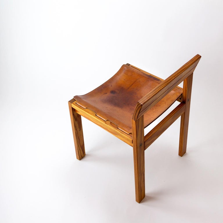 Pitch Pine and Cognac Leather Side Chair, Denmark, 1970s In Good Condition For Sale In Berkhamsted, GB