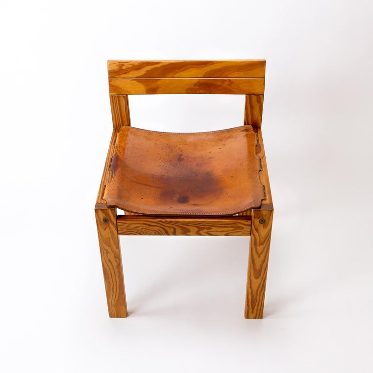 Late 20th Century Pitch Pine and Cognac Leather Side Chair, Denmark, 1970s For Sale