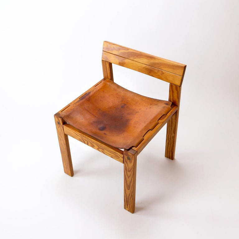 Pitch Pine and Cognac Leather Side Chair, Denmark, 1970s For Sale 1