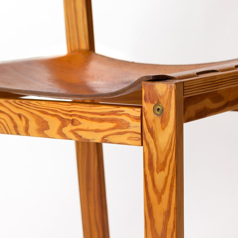 Pitch Pine and Cognac Leather Side Chair, Denmark, 1970s For Sale 3