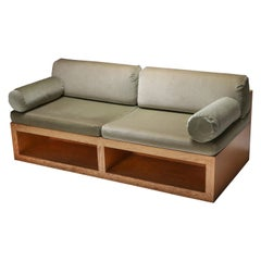 Pitch Pine and Velvet Loveseat Sofa