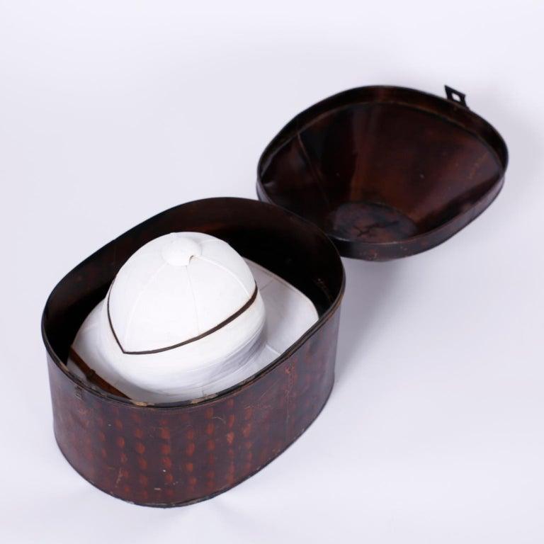 20th Century Pith Helmet in the Original Tole Box For Sale