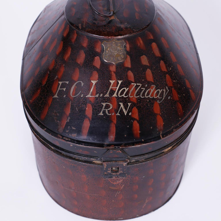 Metal Pith Helmet in the Original Tole Box For Sale