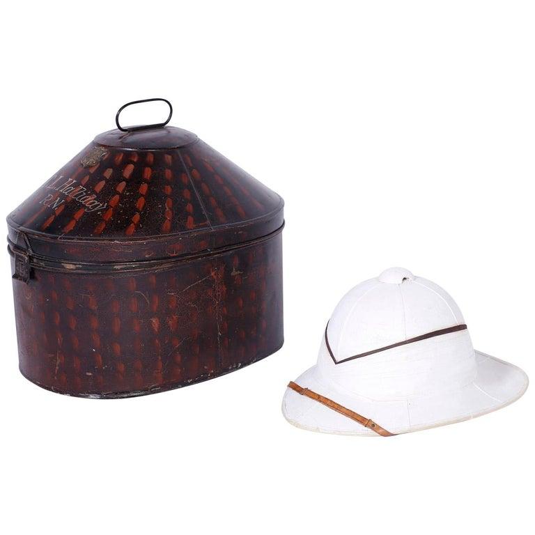 Pith Helmet in the Original Tole Box For Sale