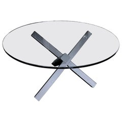 Pitted Steel Cross Beam Base Round Glass Top Dining Table, Contemporary