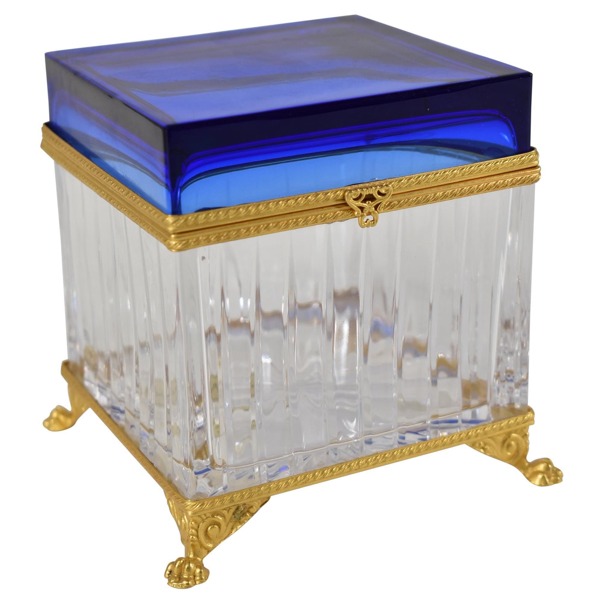 Pitti Collection By Baldi Italian Glass Box 24k Gold Dore Cobalt Blue