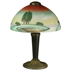 Pittsburgh Arts & Crafts Obverse Hand-Painted Landscape Shade Table Lamp, c1920