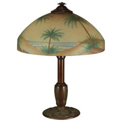 Pittsburgh Reverse Painted Arts & Crafts Beach Sunset with Palms Table Lamp 1920