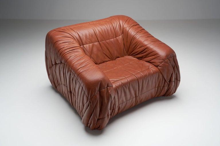 """Leather """"Piumino"""" Club Chair by De Pas, D'Urbino & Lomazzi for Dell'Oca, Italy, 1970s For Sale"""
