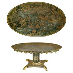 English Chinoiserie Lacquer Oval Center Table, 19th Century