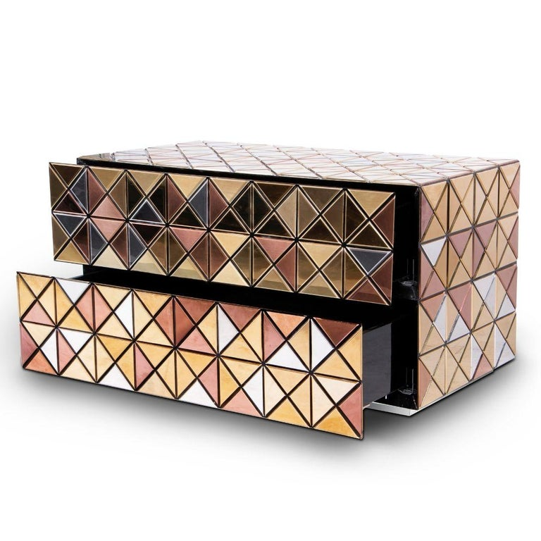 Pixel Nightstand Anodized in Aluminum and Lacquered Wood In New Condition For Sale In New York, NY