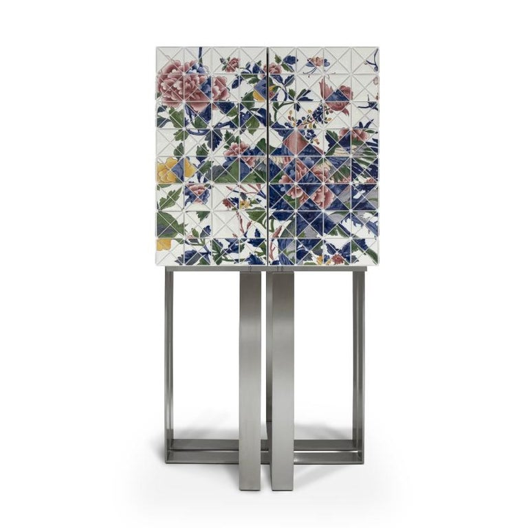 Modern Pixel Once Upon a Time Cabinet with Hand-Painted Porcelain For Sale