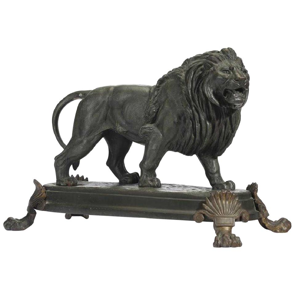 19th Century French Patinated Bronze Lion, Signed