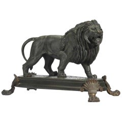 Pixmon 19th Century French Patinated Bronze Lion, Signed