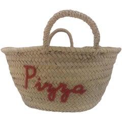 Pizza raffia handbag