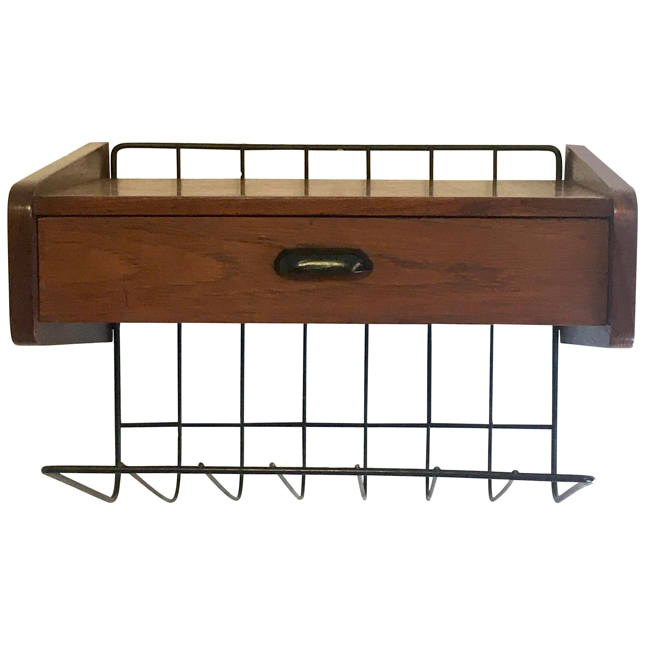 Pizzetti Roma Bedside Table in Walnut with Black Metal Magazine Rack