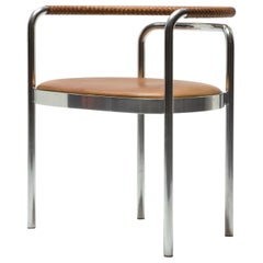 PK 12 Chair in Braided Brown Leather and Stainless Steel by Poul Kjaerholm, 1964