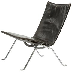 PK 22 Lounge Chair in Steel and Black Leather by Poul Kjaerholm, circa 1956