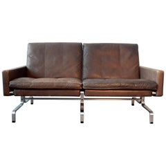 PK-31/2 Sofa in Brown Leather by Poul Kjaerholm for E. Kold Christensen, 1958