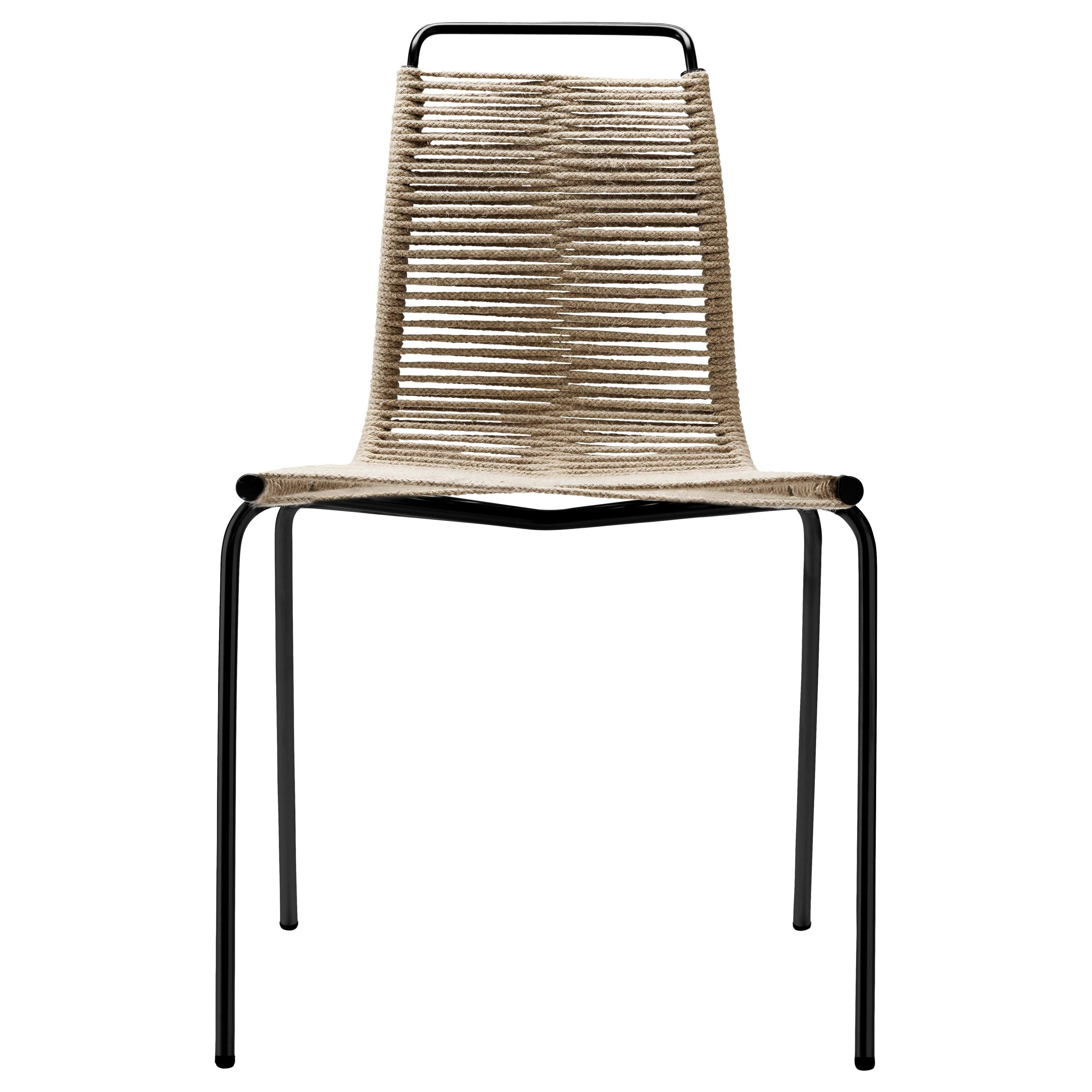 PK1 Dining Chair in Black Steel Base with Natural Flag Halyard by Poul Kjærholm