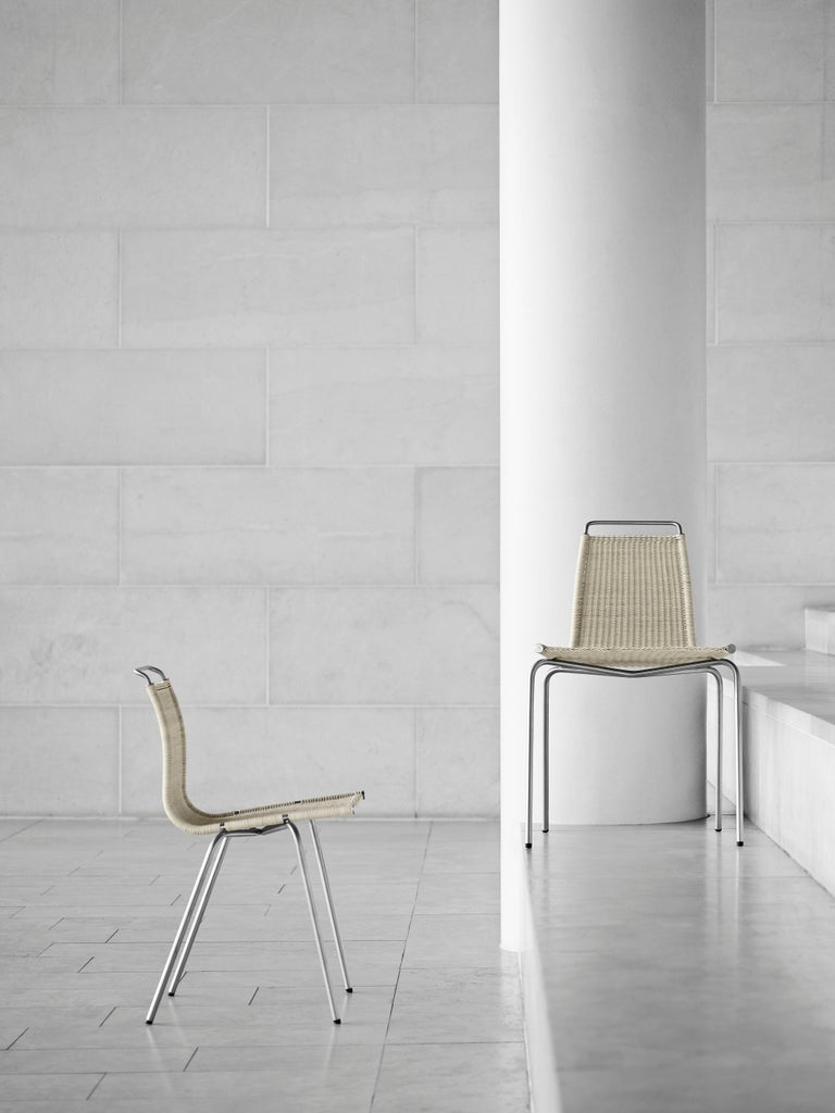 PK1 Dining Chair in Chrome Base by Poul Kjærholm For Sale 2