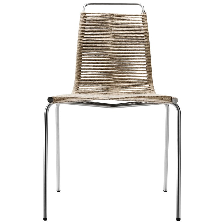 For Sale: Black (Outdoor Flag Halyard Light Brown-Black) PK1 Dining Chair in Stainless Steel Base by Poul Kjærholm