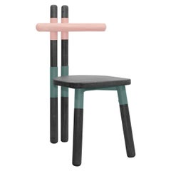 PK12 Chair, Bicolor Steel Structure and Ebonized Wood Legs by Paulo Kobylka