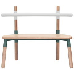 PK14 Double Chair, Bicolor Steel Structure and Turned Wood Legs by Paulo Kobylka