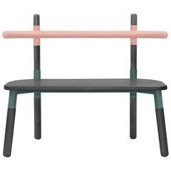 PK14 Double Chair, Bicolor Steel Structure & Ebonized Wood Legs by Paulo Kobylka
