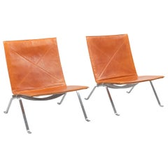 PK22 Cognac Leather Kold Christensen Lounge Chairs