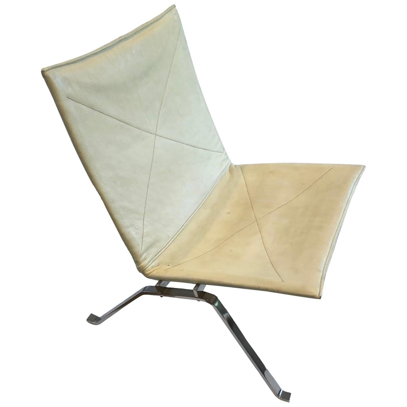 PK22 Poul Kjaerholm White Leather Upholstered Side Chair