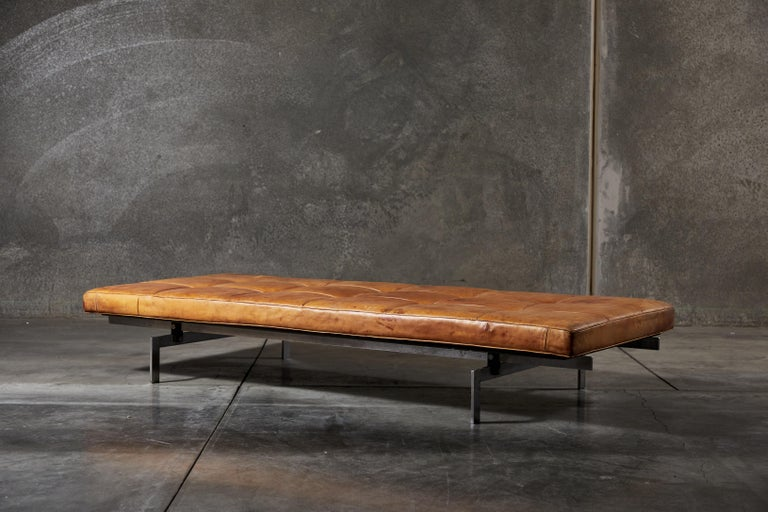Patinated Niger leather PK80 daybed by Poul Kjærholm. Designed in Denmark, circa 1957.