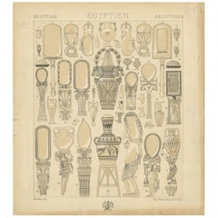 Pl. 1 Antique Print of Egyptian Decorative Objects by Racinet, 'circa 1880'