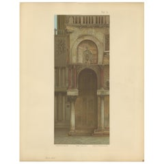 Pl. 10 Antique Print of the Main Facade of the Basilica of San Marco