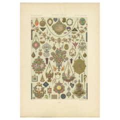 Pl. 102 Antique Print of 16th Century 15th-18th Jewelry by Racinet, circa 1890