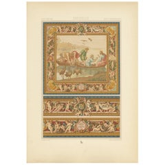 Pl. 103 Antique Print of 17th Century English Tapestry by Racinet, circa 1890