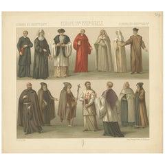 Pl. 107 Antique Print of European 15th-18th Century Ecclesiastes by Racinet