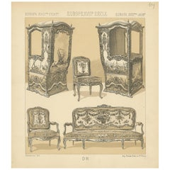 Pl. 109 Antique Print of European XVIIIth Century Furniture by Racinet