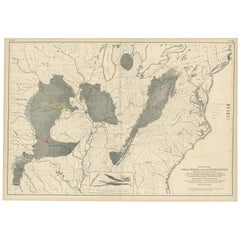 Pl. 11 Antique Map of the Coal Fields of the United States by Walker '1874'